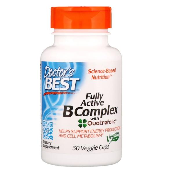 Doctor's Best, Комплекс ативных витаминовB с Quatrefolic, 30растительных капсул