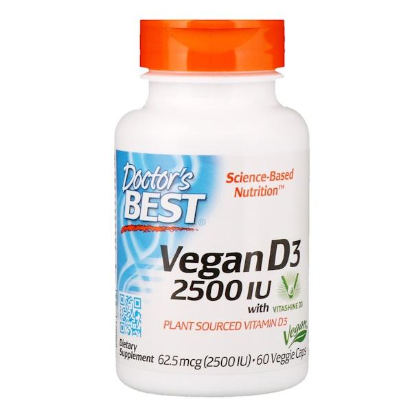 Веганский витамин D3 с Vitashine D3, 2500 МЕ, 60 вегетарианских капсул