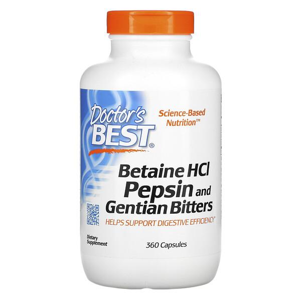 Бетаина гидрохлорид, пепсин и горечавка, 360 капсул