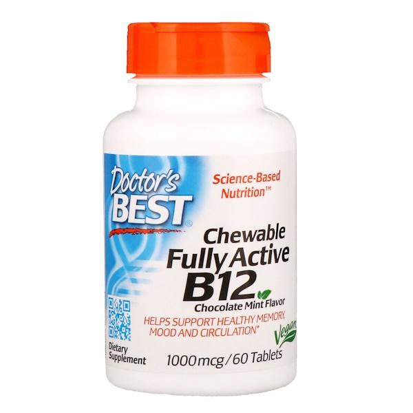 активный витамин B12, со вкусом шоколада и мяты, 1000 мкг, 60 жевательных таблеток