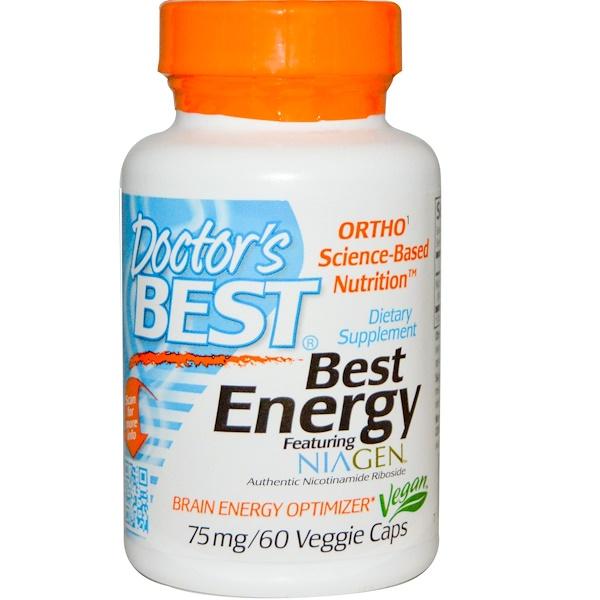 Doctor's Best, Лучший ниаген с зарядом энергии, 75 мг, 60 капсул на растительной основе (Discontinued Item)