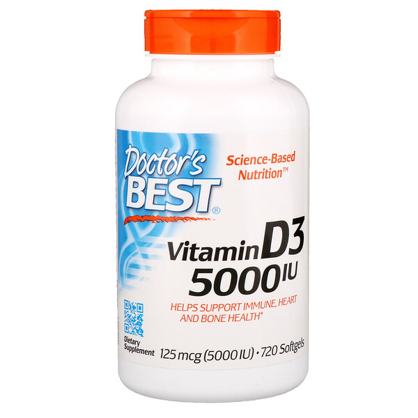 Doctor's Best, Витамин D3, 125мкг (5000МЕ), 720мягких желатиновых капсул