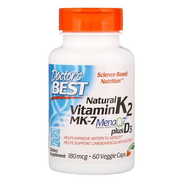Натуральный витамин K2 MK-7 с MenaQ7 и витаминомD3, 180мкг, 60растительных капсул