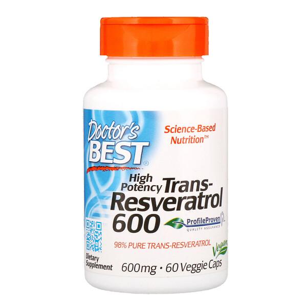 высокоэффективный трансресвератрол, 600 мг, 60 растительных капсул