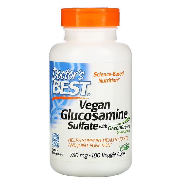Веганский глюкозамин сульфат с глюкозамином GreenGrown, 750мг, 180вегетарианских капсул