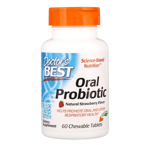Doctor's Best, Пробиотики для полости рта, Вкус натуральной клубники, 60 жевательных таблеток (Discontinued Item)