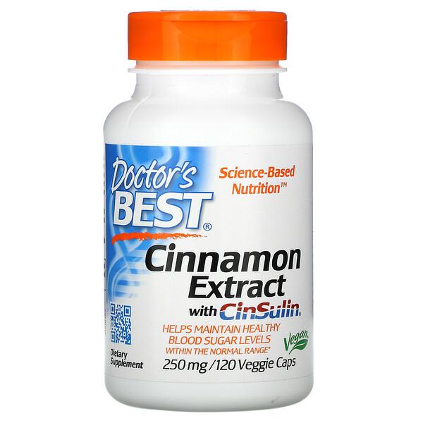 Doctor's Best, Экстракт корицы и CinSulin, 250 мг, 120 растительных капсул