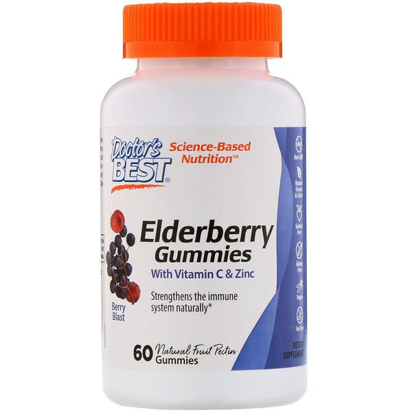 Doctor's Best, Жевательные таблетки из бузины с витамином С и цинком, ягодный взрыв, 60 жевательных конфет