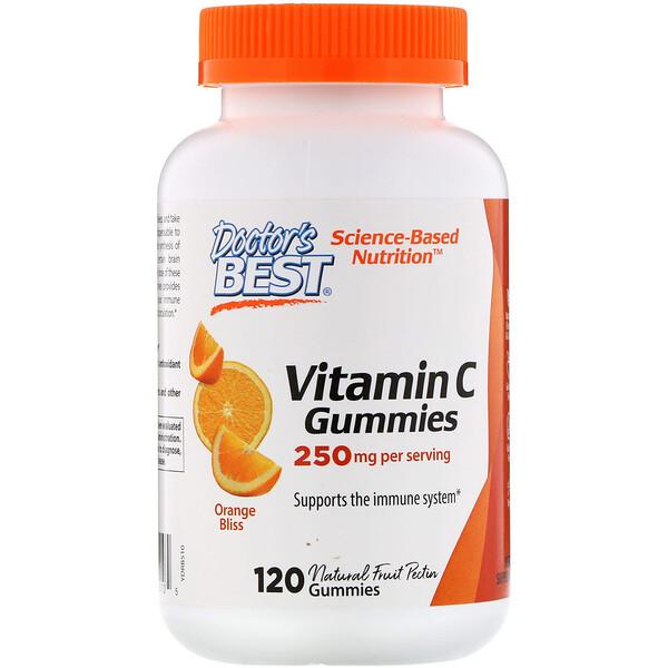 Doctor's Best, Жевательные таблетки с витаминомC, с апельсиновым вкусом, 250мг, 120таблеток
