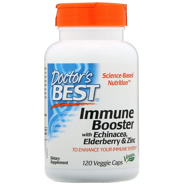 Doctor's Best, Добавка для укрепления иммунитета с эхинацеей, бузиной и цинком, 120растительных капсул