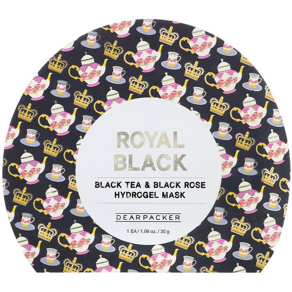 Dear Packer, Royal Black, Black Tea & Black Rose Hydrogel Mask, 1 Sheet, 1.06 oz (30 g) (Discontinued Item)