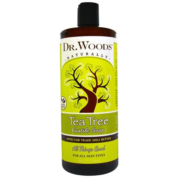 Dr. Woods, Кастильское мыло, чайное дерево и масло ши (ингредиент справедливой торговли), 946 мл (32 жидких унции)