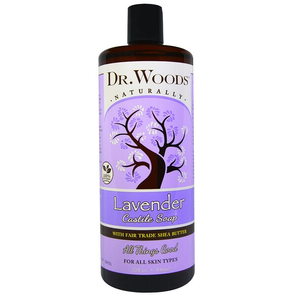Dr. Woods, Лаванда, кастильское мыло, ингредиенты закупаются на основе принципов справедливой торговли, масло ши, 946 мл
