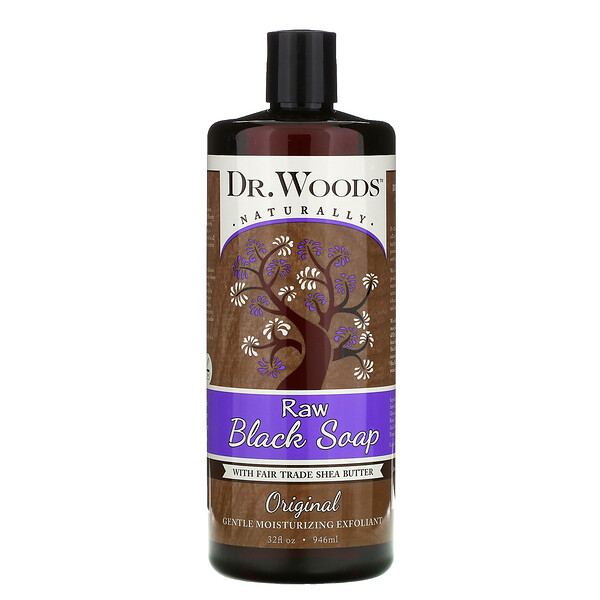 Неочищенное черное мыло, масло ши, приобретенное на основе принципов справедливой торговли, оригинальная рецептура, 946 мл