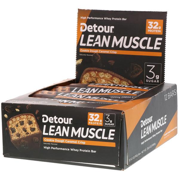Lean Muscle Bar, Cookie Dough Caramel Crisp, 12 Bars, 3.2 oz (90 g) Each