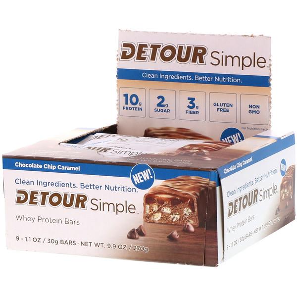 Detour, Simple, Батончики  с Сывороточным Белком, Карамель с Шоколадной Крошкой, 9 батончиков по 1,1 унции (30 г) каждый (Discontinued Item)