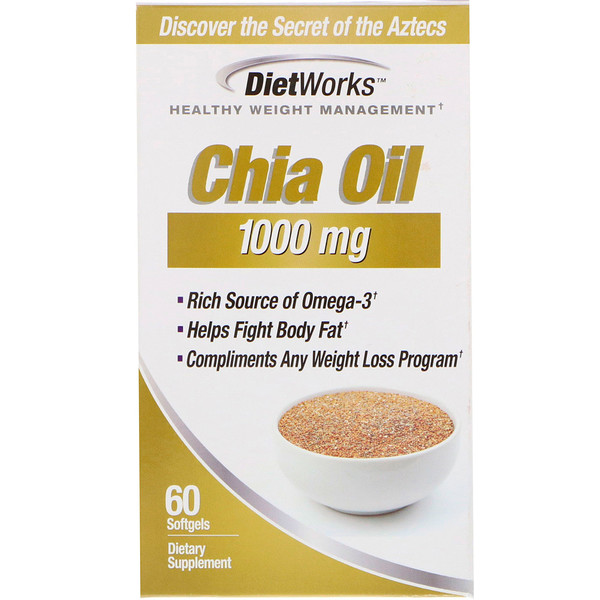DietWorks, Chia Oil, 1,000 mg, 60 Softgels (Discontinued Item)