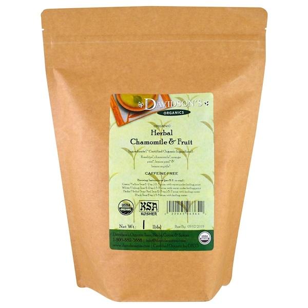 Davidson's Tea, Органический чай с ромашкой и фруктами, не содержит кофеина, 1 фунт (450 г) (Discontinued Item)