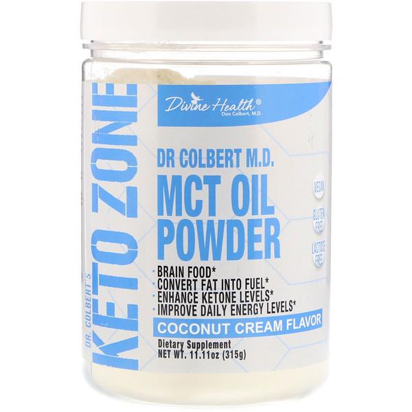 Divine Health, Dr. Colbert's Keto Zone, MCT Oil Powder, Coconut Cream, 11.11 oz (315 g) (Discontinued Item)
