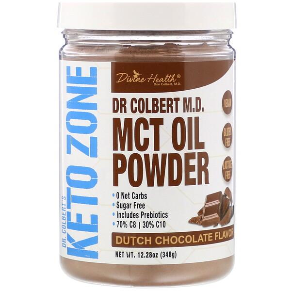 Divine Health, Dr Colbert's Keto Zone, MCT Oil Powder, Dutch Chocolate , 12.28 oz (348 g) (Discontinued Item)