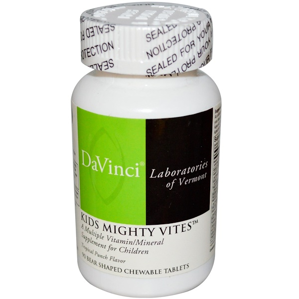 DaVinci Laboratories of Vermont, Kids Mighty Vites, Tropical Punch Flavor, 90 Chewable Tablets (Discontinued Item)