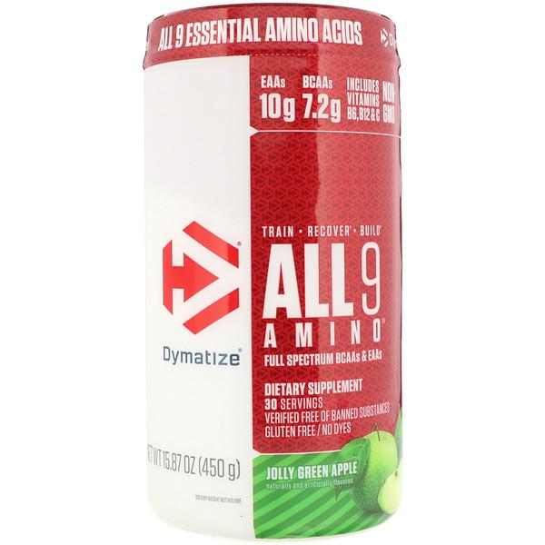 All 9 Amino, Веселое зеленое яблоко, 15,87 унц. (450 г)