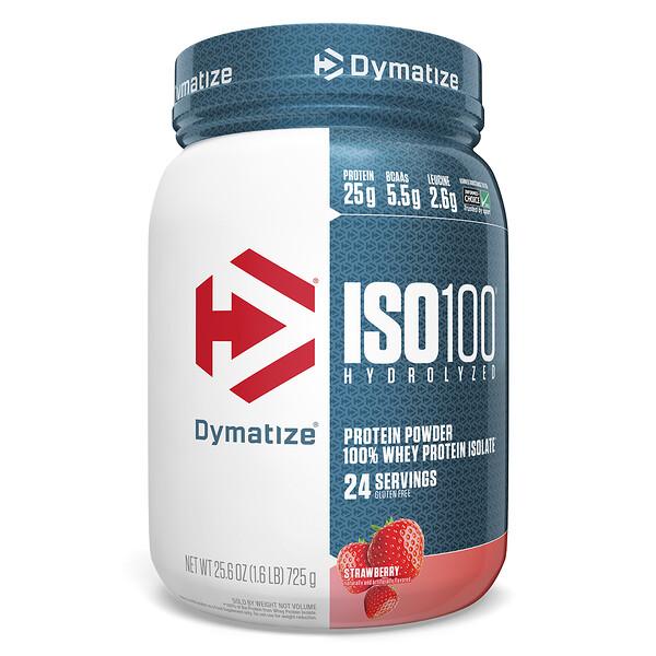 Dymatize Nutrition, ISO 100 Hydrolyzed 100% Whey Protein Isolate, Strawberry, 25.6 oz (725 g)