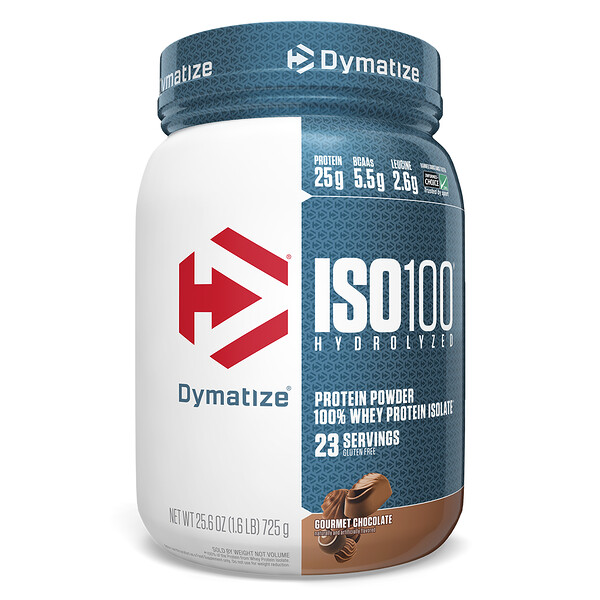 Гидролизация ISO 100, 100% изолят сывороточного белка, изысканный шоколад, 1,6 фунта (725 г)