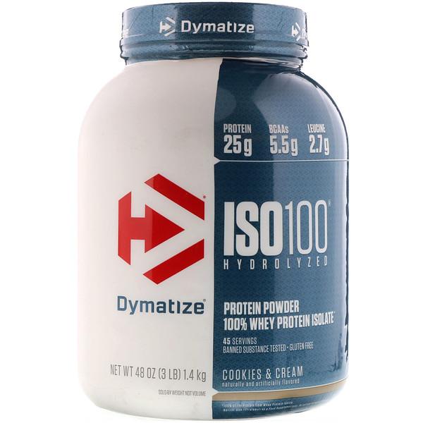 Dymatize Nutrition, ISO 100 Hydrolyzed, 100 % изолят сывороточного белка, со вкусом печенья и сливок, 1,36 кг (3 фунта)