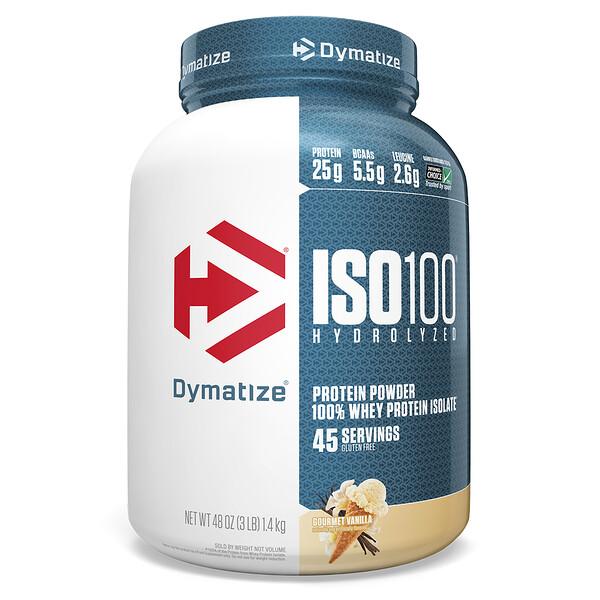 Dymatize Nutrition, ISO100 Hydrolyzed, 100 % изолят сывороточного белка, со вкусом ванили для гурманов, 1,4 кг (3 фунта)