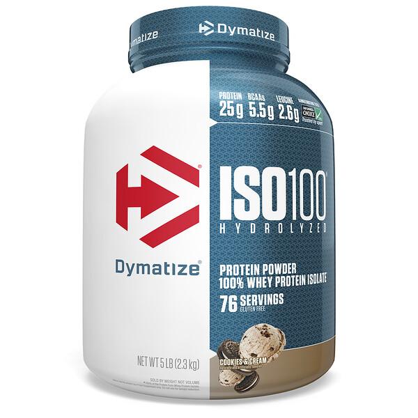 ISO100 гидролизованный, 100% изолят сывороточного белка, печенье со сливками, 5 фунтов (2,3 кг)