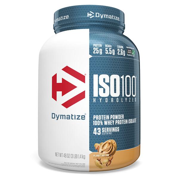 ISO 100 гидролизованный, 100% изолят сывороточного протеина, арахисовое масло, 48 унций (1,4 кг)