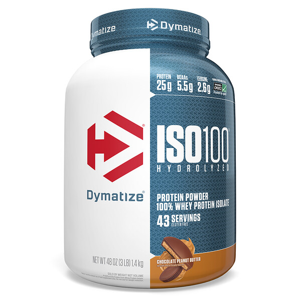 ISO 100 Hydrolyzed, 100% Whey Protein Isolate, Chocolate Peanut Butter, 3 lbs (1.4 kg)