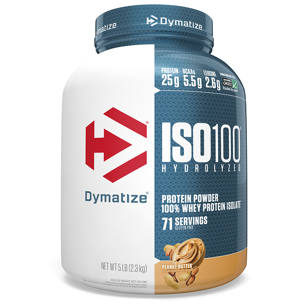 ISO 100 Hydrolyzed, 100% Whey Protein Isolate, Peanut Butter, 5 lbs (2.3 kg)