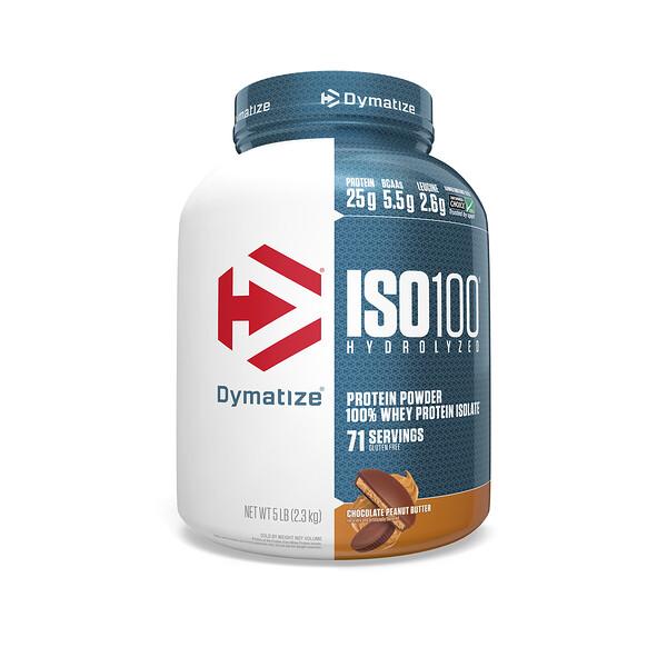 ISO 100 гидролизованный, 100% изолят сывороточного протеина, шоколадно-арахисовая паста, 5 фунтов (2.3 кг)