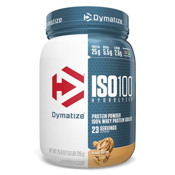 ISO 100 Hydrolyzed, 100% изолят сывороточного протеина, арахисовое масло, 25,6 унций (725 г)