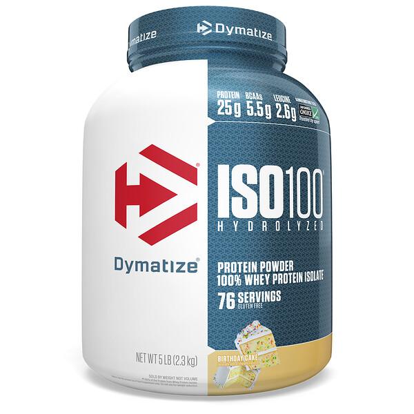 Dymatize Nutrition, ISO 100 Hydrolyzed, 100 % изолят сывороточного белка, со вкусом торта, 2,3 кг (5 фунтов)