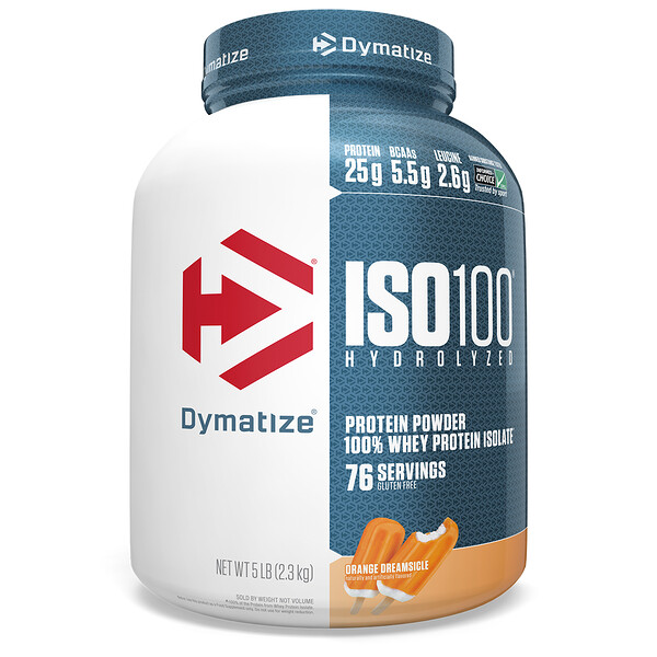 ISO 100 Hydrolyzed, 100 % изолят сывороточного белка, со вкусом апельсинового коктейля, 2,3 кг (5 фунта)