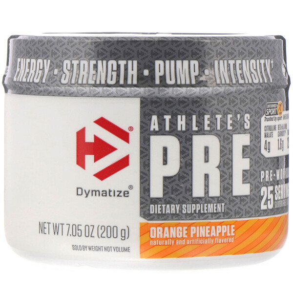 Athlete's Pre, предтренировочная добавка, апельсин-ананас, 200г