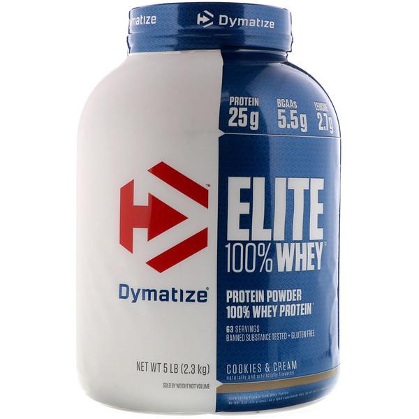 Elite 100 % Whey, протеиновый порошок, со вкусом печенья со сливками, 2,3 кг (5 фунтов)