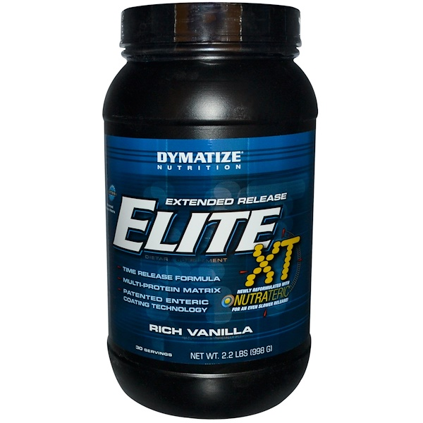 Dymatize Nutrition, Elite XT, Extended Release, Multi-Protein Matrix, Rich Vanilla, 2.2 lbs (998 g) (Discontinued Item)