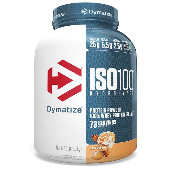 ISO100, гидролизованный 100% изолят сывороточного протеина, булочка с корицей, 2,3кг (5фунтов)