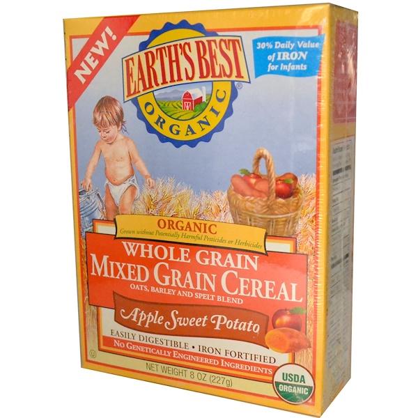 Earth's Best, Органическая смесь цельно-зерновых злаковых хлопев, яблока и сладкого картофеля, 8 унций (227 г) (Discontinued Item)