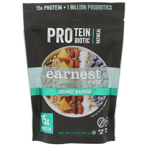 Earnest Eats, Белковая пробиотическая овсянка, кокосовый воин, 8 унц. (227 г)