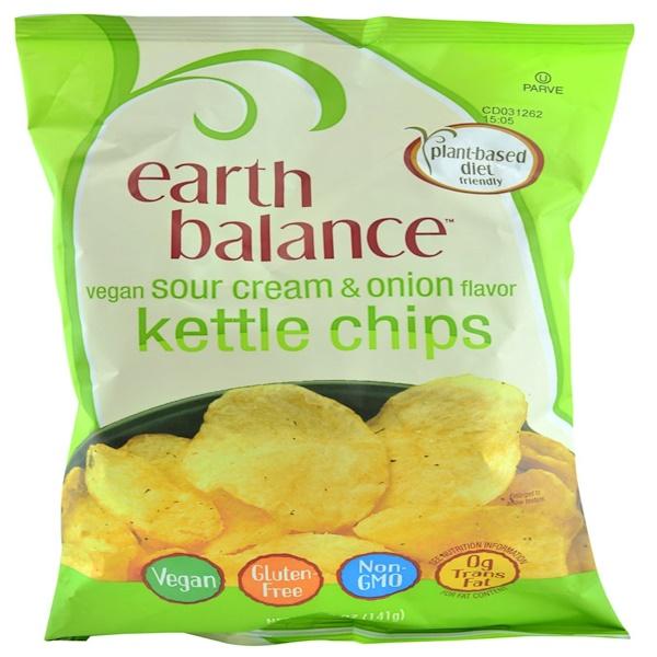 Earth Balance, Веганские вареные чипсы, сметана и лук, 5 унций (141 г) (Discontinued Item)