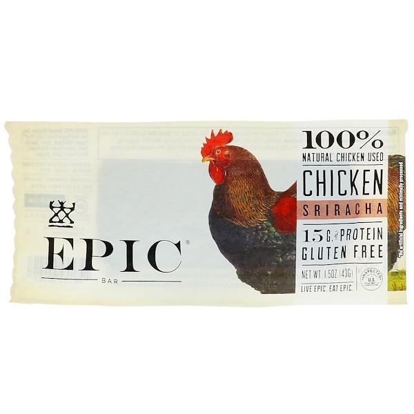 Epic Bar, Батончик с цыпленком и соусом шрирача, 12 штук по 1,5 унц. (43 г) (Discontinued Item)