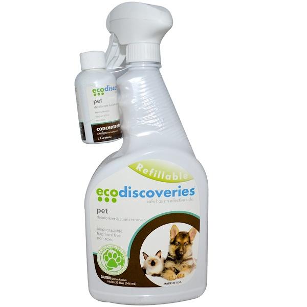 EcoDiscoveries, Дезодорант и пятновыводитель для домов с питомцами, 2 жидких унции (60 мл) концентрат с 1 бутылкой-распылителем (Discontinued Item)