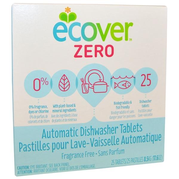 Ecover, Zero, таблетки для автоматической посудомоечной машины, без отдушек, 25 таблеток, 0,5 кг (17,6 унции) (Discontinued Item)