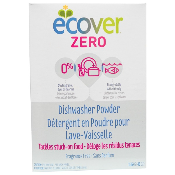Ecover, Порошок для посудомоечных машин Zero, без ароматизаторов, 48 унций (1,36 кг) (Discontinued Item)