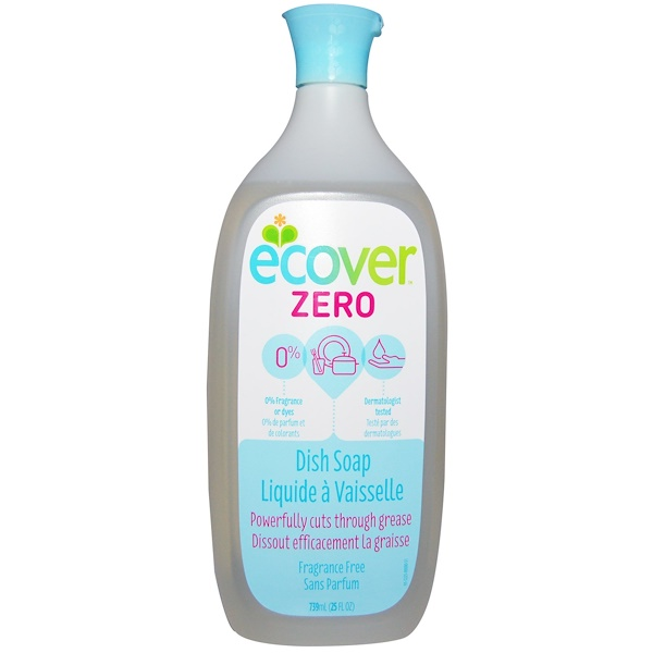 Ecover, Жидкое моющее средство для посуды, Zero, без запаха, 25 жидких унций (739 мл) (Discontinued Item)